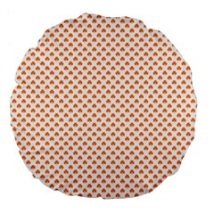 Orange Heart-Shaped Clover on White St. Patrick s Day Large 18  Premium Flano Round Cushions