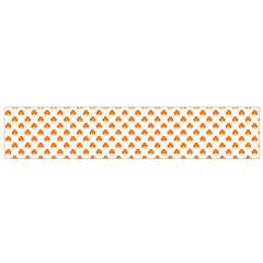Orange Heart-Shaped Clover on White St. Patrick s Day Flano Scarf (Small)