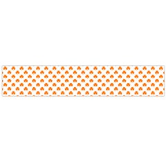 Orange Heart-Shaped Clover on White St. Patrick s Day Flano Scarf (Large)