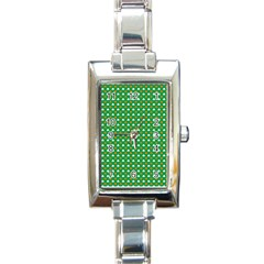 Orange & White Heart-Shaped Clover on Green St. Patrick s Day Rectangle Italian Charm Watch