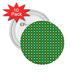 Orange & White Heart-Shaped Clover on Green St. Patrick s Day 2.25  Buttons (10 pack)