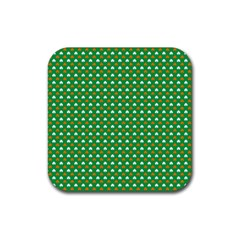 Orange & White Heart-Shaped Clover on Green St. Patrick s Day Rubber Coaster (Square)