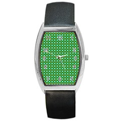 Orange & White Heart-Shaped Clover on Green St. Patrick s Day Barrel Style Metal Watch
