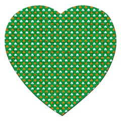 Orange & White Heart-Shaped Clover on Green St. Patrick s Day Jigsaw Puzzle (Heart)