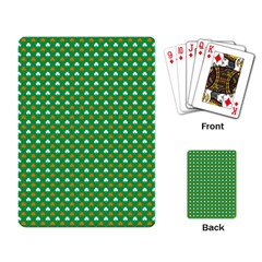 Orange & White Heart-Shaped Clover on Green St. Patrick s Day Playing Card