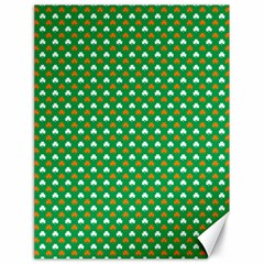Orange & White Heart-Shaped Clover on Green St. Patrick s Day Canvas 18  x 24