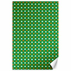 Orange & White Heart-Shaped Clover on Green St. Patrick s Day Canvas 24  x 36