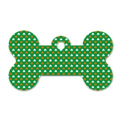 Orange & White Heart-Shaped Clover on Green St. Patrick s Day Dog Tag Bone (One Side)