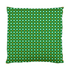 Orange & White Heart-Shaped Clover on Green St. Patrick s Day Standard Cushion Case (Two Sides)