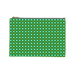 Orange & White Heart-Shaped Clover on Green St. Patrick s Day Cosmetic Bag (Large)