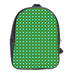 Orange & White Heart-Shaped Clover on Green St. Patrick s Day School Bags(Large)