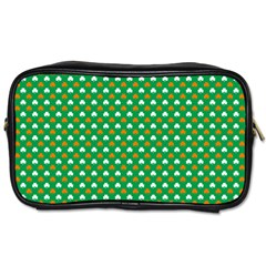 Orange & White Heart-Shaped Clover on Green St. Patrick s Day Toiletries Bags