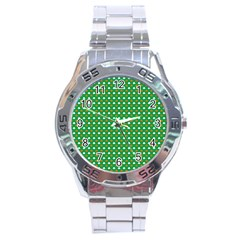 Orange & White Heart-Shaped Clover on Green St. Patrick s Day Stainless Steel Analogue Watch