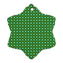 Orange & White Heart-Shaped Clover on Green St. Patrick s Day Snowflake Ornament (Two Sides)