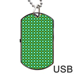 Orange & White Heart-Shaped Clover on Green St. Patrick s Day Dog Tag USB Flash (Two Sides)