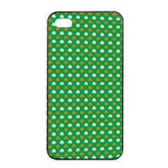 Orange & White Heart-Shaped Clover on Green St. Patrick s Day Apple iPhone 4/4s Seamless Case (Black)