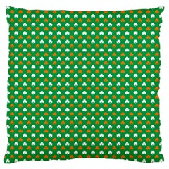 Orange & White Heart-Shaped Clover on Green St. Patrick s Day Large Cushion Case (Two Sides)