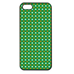 Orange & White Heart-Shaped Clover on Green St. Patrick s Day Apple iPhone 5 Seamless Case (Black)