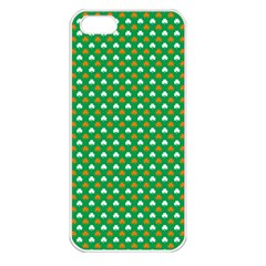Orange & White Heart-Shaped Clover on Green St. Patrick s Day Apple iPhone 5 Seamless Case (White)