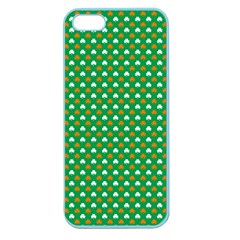 Orange & White Heart-Shaped Clover on Green St. Patrick s Day Apple Seamless iPhone 5 Case (Color)