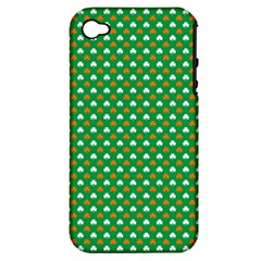 Orange & White Heart-Shaped Clover on Green St. Patrick s Day Apple iPhone 4/4S Hardshell Case (PC+Silicone)