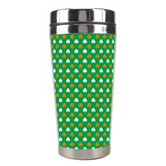 Orange & White Heart-Shaped Clover on Green St. Patrick s Day Stainless Steel Travel Tumblers