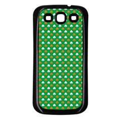 Orange & White Heart Shaped Clover On Green St  Patrick s Day Samsung Galaxy S3 Back Case (black)