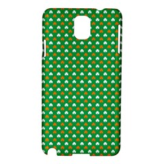 Orange & White Heart-Shaped Clover on Green St. Patrick s Day Samsung Galaxy Note 3 N9005 Hardshell Case