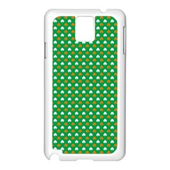 Orange & White Heart-Shaped Clover on Green St. Patrick s Day Samsung Galaxy Note 3 N9005 Case (White)