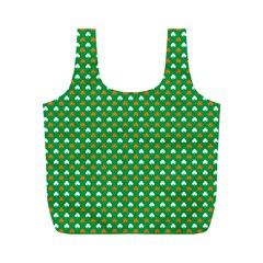 Orange & White Heart-Shaped Clover on Green St. Patrick s Day Full Print Recycle Bags (M)