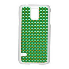 Orange & White Heart-Shaped Clover on Green St. Patrick s Day Samsung Galaxy S5 Case (White)