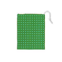 Orange & White Heart-Shaped Clover on Green St. Patrick s Day Drawstring Pouches (Small)