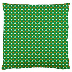 Orange & White Heart-Shaped Clover on Green St. Patrick s Day Large Flano Cushion Case (One Side)