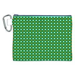 Orange & White Heart Shaped Clover On Green St  Patrick s Day Canvas Cosmetic Bag (xxl)