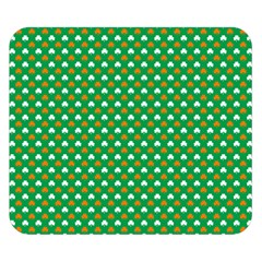 Orange & White Heart-Shaped Clover on Green St. Patrick s Day Double Sided Flano Blanket (Small)