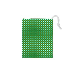 Orange & White Heart-Shaped Clover on Green St. Patrick s Day Drawstring Pouches (XS)