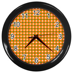 Heart-Shaped Clover Shamrock On Orange St. Patrick s Day Wall Clocks (Black)