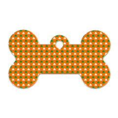 Heart-Shaped Clover Shamrock On Orange St. Patrick s Day Dog Tag Bone (One Side)