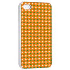 Heart-Shaped Clover Shamrock On Orange St. Patrick s Day Apple iPhone 4/4s Seamless Case (White)