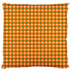 Heart-Shaped Clover Shamrock On Orange St. Patrick s Day Large Cushion Case (Two Sides)