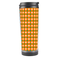 Heart-Shaped Clover Shamrock On Orange St. Patrick s Day Travel Tumbler