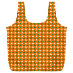 Heart-Shaped Clover Shamrock On Orange St. Patrick s Day Full Print Recycle Bags (L)