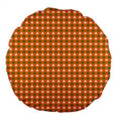 Heart-Shaped Clover Shamrock On Orange St. Patrick s Day Large 18  Premium Flano Round Cushions
