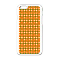 Heart-Shaped Clover Shamrock On Orange St. Patrick s Day Apple iPhone 6/6S White Enamel Case