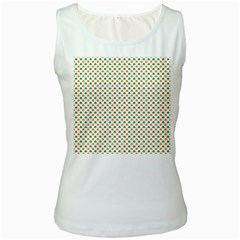 Orange And Green Heart-Shaped Shamrocks On White St. Patrick s Day Women s White Tank Top