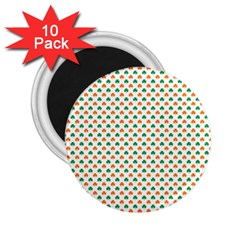 Orange And Green Heart-Shaped Shamrocks On White St. Patrick s Day 2.25  Magnets (10 pack)