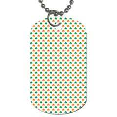 Orange And Green Heart-Shaped Shamrocks On White St. Patrick s Day Dog Tag (One Side)