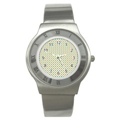 Orange And Green Heart-Shaped Shamrocks On White St. Patrick s Day Stainless Steel Watch