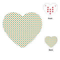 Orange And Green Heart-Shaped Shamrocks On White St. Patrick s Day Playing Cards (Heart)