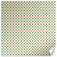Orange And Green Heart-Shaped Shamrocks On White St. Patrick s Day Canvas 12  x 12